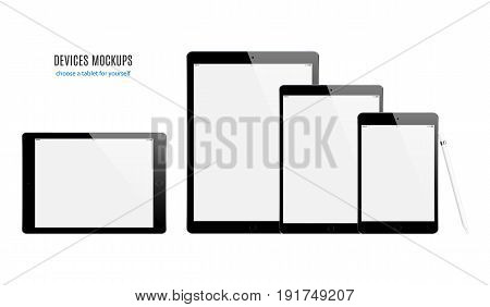 tablet mockup set with blank screen isolated on white background. stock vector illustration eps10