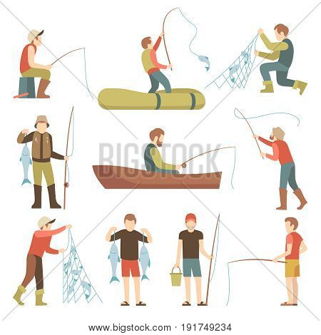 Summer fishing sport vacation vector flat icons. Fishermen with fish set. Fisherman fishing in boat illustration