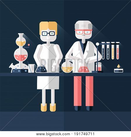 Two scientist chemists in white lab coats in a scientific laboratory. Man and woman make a chemical experiment. Vector illustration in flat style on dark background.
