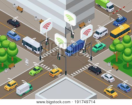 Vehicles with infrared sensor device. Unmanned smart cars in city traffic vector illustration. Sensor car autonomous drive on road city