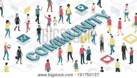 People connecting in a virtual community: technology and communication concept