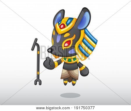 Little Anubis levitating with his wand illustration