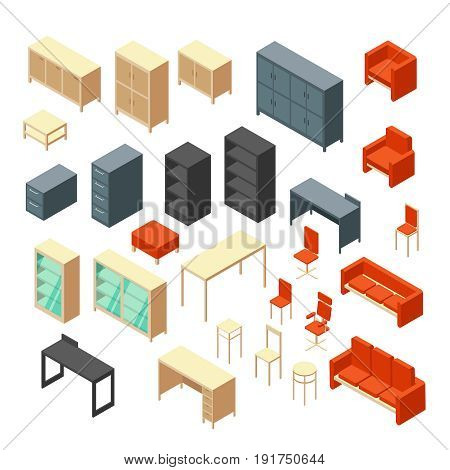 Isometric 3d office furniture isolated. Interior elements vector set. Furniture for interior room office, table and armchair illustration