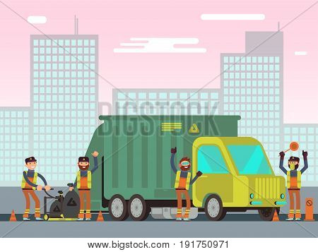 Waste management and city garbage collection for recycling vector concept with sanitation workers, garbage truck and trash bins. Trash and garbage car, illustration of container with waste