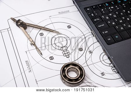 Mechanical Engineering Of Parts With Tools, Laptop, Drawing Top