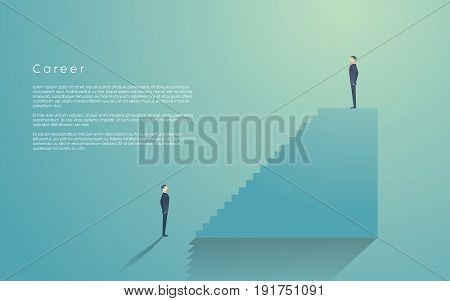 Business manager, leader, boss vector concept. Businessman standing on top of corporate career ladder. Leadership symbol. Eps10 vector illustration.