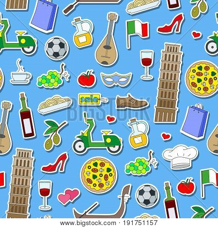 Seamless pattern on the theme of journey in the country of Italy simple colored icons stickers on blue background