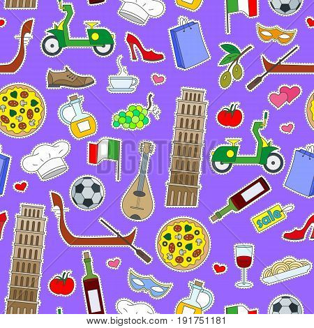 Seamless pattern on the theme of journey in the country of Italy simple colored icons patches on a purple background