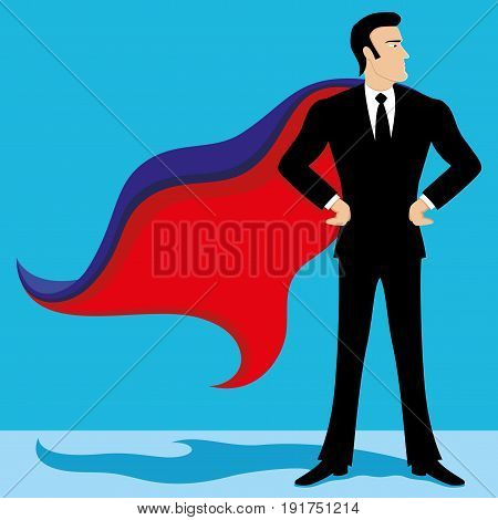Business man super hero on a blue background.