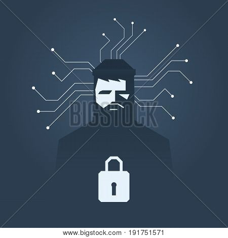 Computer hacker and ransomware vector concept. Criminal hacking, data theft and blackmailing symbol. Eps10 vector illustration.