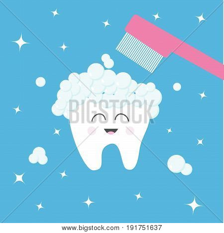 Tooth icon. Toothbrush with toothpaste bubble foam. Brush your teeth. Cute funny cartoon smiling character. Oral dental hygiene. Health care. Baby background. Flat design. Vector illustration