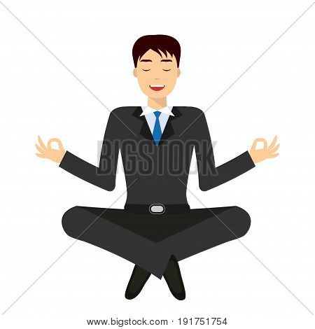 Smiling businessman sitting and mindful meditating in lotus asana in zen peace and mental calmness. Search for solution, brainstorming. Isolated on white. Flat style illustration.
