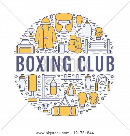 Boxing poster template. Vector sport training line icons, circle illustration of equipment - punchbag, boxer gloves, ring, heavy bags. Box club banner with place for text, white background.