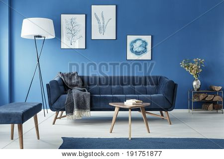 Cyan fancy classic retro living room with sofa
