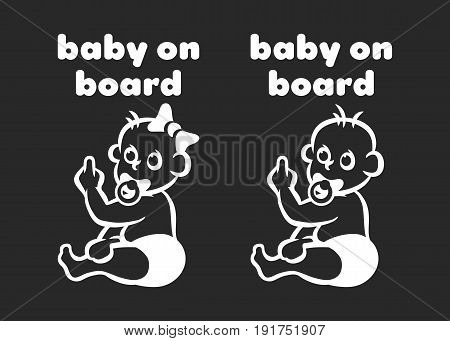 Baby on board sign with boy and girl on black background. Vector illustration.