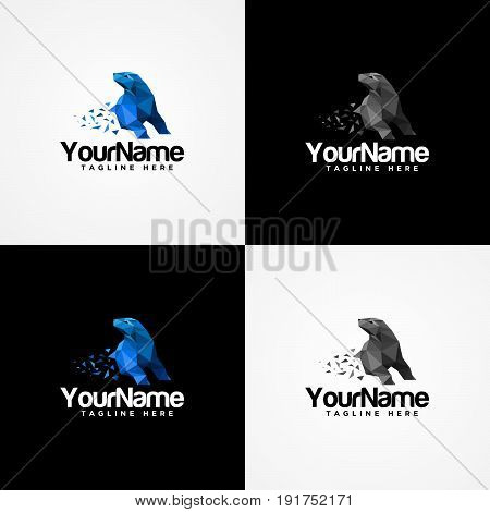 Polar Bear Painted In Imaginary Colors. Bears Isolated on Black and White Background. Polar Bear logo