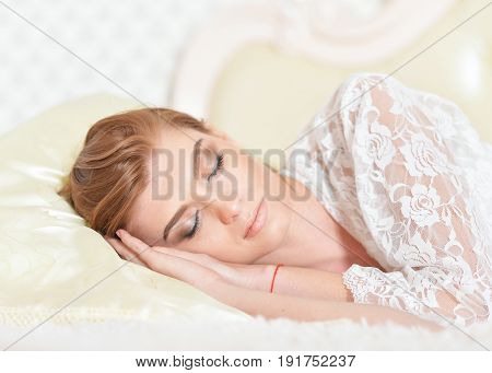 Close up portrait of sleeping beautiful young woman