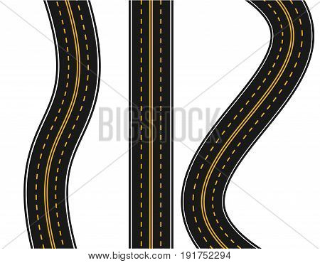 Set of roads with various white and yellow markings on a white background. Straight and with turns. Vector illustration.
