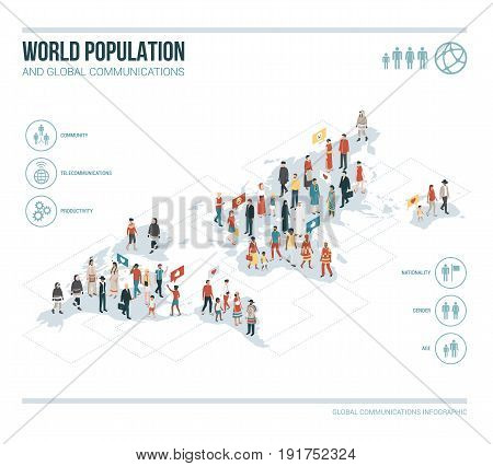 People from all over the world connecting together: diversity ethnic groups and demographics concept
