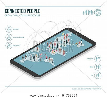 People connecting through social media they are standing on a smartphone and chatting together vector infographic