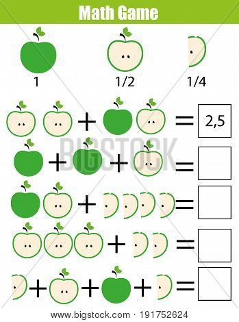 Mathematics educational game for children. Learning counting, addition worksheet for kids. Fractions, half, quarters