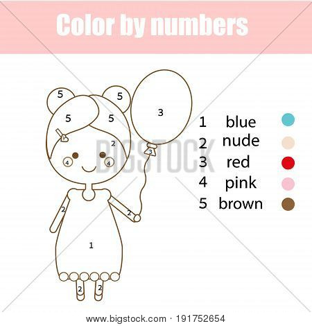 Coloring page with cute girl character. Color by numbers educational children game, drawing kids activity, printable sheet.
