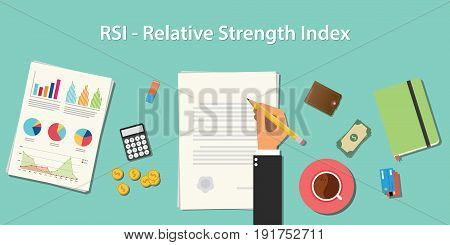 rsi relative strength index business concept illustration terms with business man hand writing working on graph chart money paper work vector
