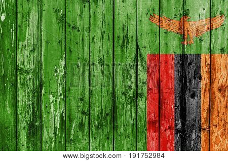 Flag of Zambia painted on wooden frame
