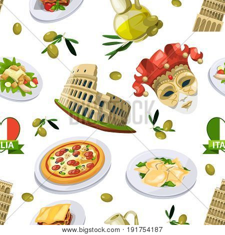 Food of italy cuisine. Illustration of different national elements. Vector seamless pattern national italy food and italian monuments