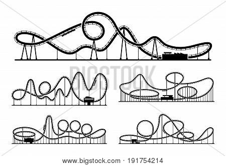 Rollercoaster vector silhouettes isolate on white background. Amusement park illustration. Park funfair, recreation element rollercoaster white black