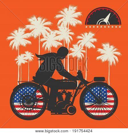 Biker riding a motorcycle poster. Bikers event or festival emblem. Vector illustration