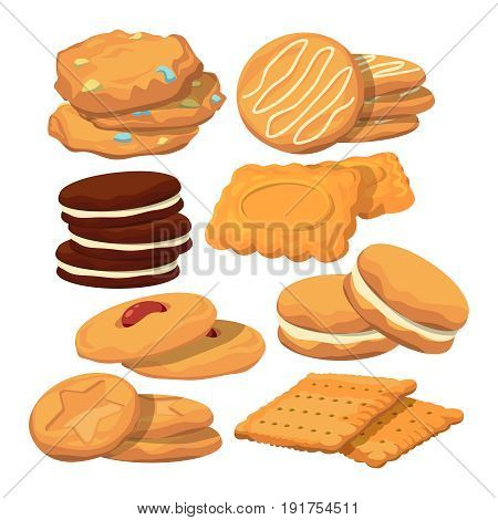 Decorated cookies in cartoon style. Vector baking illustration isolate on white. Bakery cookie snack, sweet delicious breakfast biscuit