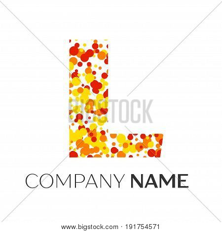 Letter L logo with orange, yellow, red particles and bubbles dots on white background. Vector template for your design