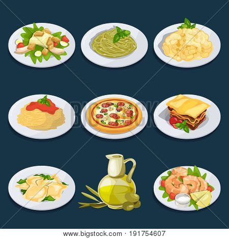 Different food from italian cuisine. Pasta, pizza and others. Vector illustration set of italian cuisine spaghetti and pizza