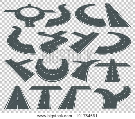 Set of different long transportation roads and highway isolated. Asphalt road curve, vector traffic highway line illustration
