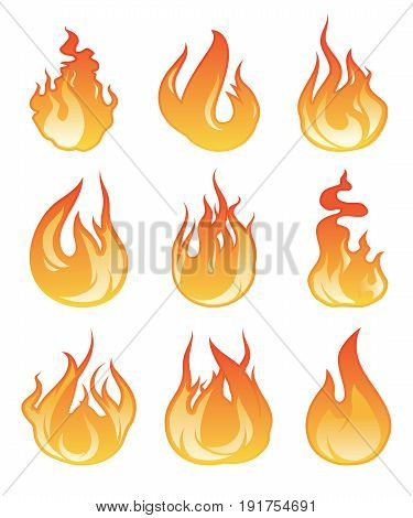 Cartoon flame set. Vector illustration of fire flaming. Energy hot fire collection, bonfire flame on white background