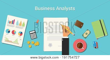 business analysts illustration with businessman working on paper document with graph money chart paperwork on top of table vector