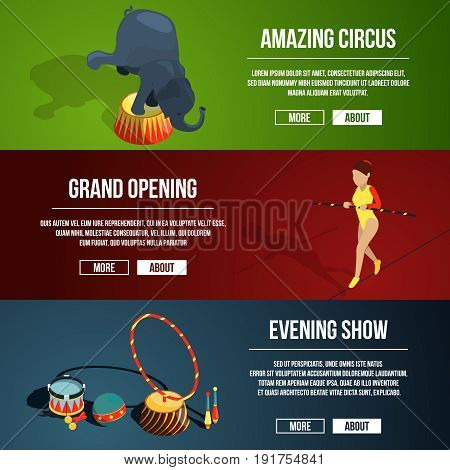Invitation to the circus magic show. Three horizontal vector banners set in cartoon style. Amazing circus and grand opening banner illustration