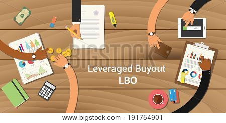 leveraged buyout illustration team work together with a hand working together on top of wooden table work on paperwork document graph chart vector