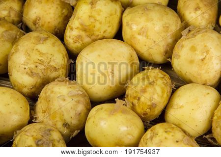 Food background of the raw new potato