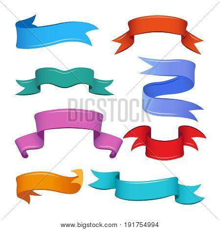 Different banners and ribbons in cartoon style. Vector set of banner ribbon colored, illustration label ribbon
