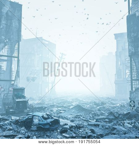 ruins of a city  in a fog. 3d illustration concept