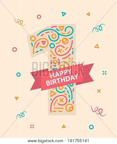 Happy birthday number 1 Colorful greeting card for one year