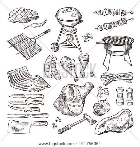 Bbq vector hand drawn illustration set. Grilled meat and other accessories for barbecue party. Grill meat for bbq, barbecue sausage picnic drawing