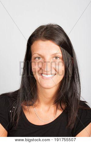 Portrait Girl 35 Years In Black Wears Smiling