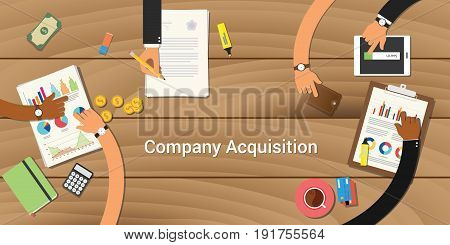 company acquisition illustration team work together with a hand working together on top of wooden table work on paperwork document graph chart vector