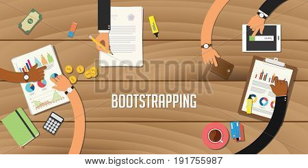 bootstrapping illustration team work together with a hand working together on top of wooden table work on paperwork document graph chart vector