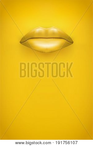Advertisement Woman lips Poster. Female lips on Yellow Background. Party Invitation and flyers. Sexual woman. Vector Illustration.