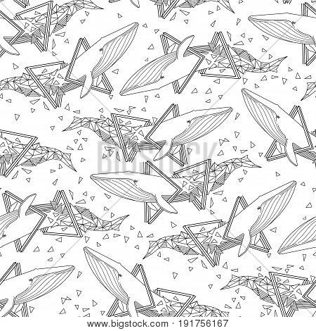 Graphic blue whale swiming through the triangular shapes. Giant sea and ocean creatures. Vector seamless pattern. Coloring page design