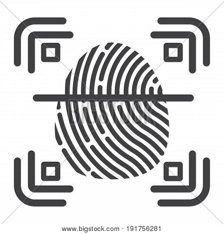 Fingerprint scanner line icon, id and security, vector graphics, a linear pattern on a white background, eps 10.
